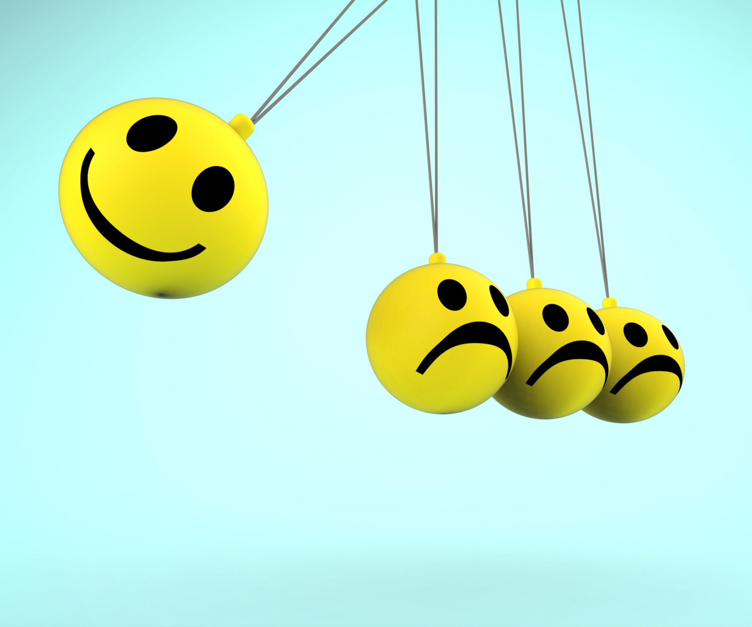 Happy And Sad Smileys Showing Positive Negative Emotions